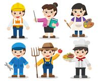 Kid Set of different professions. Artist, Teacher, Mechanic, Engineer, Chef, Farmer. Vector illustration in a flat style Royalty Free Stock Images