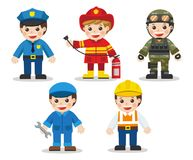 Kid Set of different professions. Doctor, Mechanic, Soldier, Engineer, Police, Fireman. Vector illustration in a flat style Royalty Free Stock Image