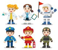 Kid Set of different professions. Doctor, Scientist, Soldier, Astronaut, Police, Fireman. Vector illustration in a flat style Stock Photos