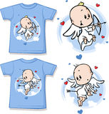 Kid shirt with cute angel printed. Isolated on white Stock Photo