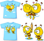 Kid shirt with cute bees - isolated on white. Back and front view stock illustration