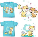 Kid shirt with cute cat in love printed vector illustration