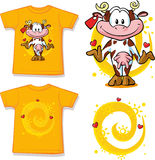 Kid shirt with cute cow printed Royalty Free Stock Images
