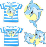 Kid shirt with cute dolphin Stock Images