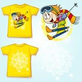 Kid shirt with skier printed Stock Photo