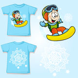 Kid shirt with snowboarder printed Stock Photos