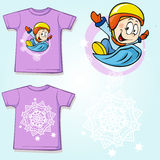 Kid shirt with winter sportsmen Stock Image