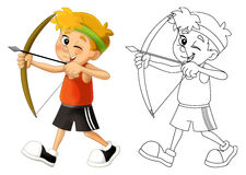 Kid shooting - bow - coloring page - isolated Royalty Free Stock Photo