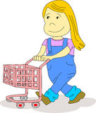 Kid with Shopping Cart. Little girl pushes a shopping cart as if she is in a supermarket or she is playing  with her friends Stock Photography