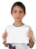 Kid showing business card blank paper sign space Royalty Free Stock Images
