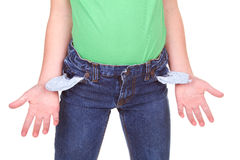 Kid showing empty pockets Stock Photos