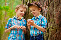 The kid is showing his brother various games on  Royalty Free Stock Images