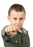 Kid showing his fist. Isolated on white Royalty Free Stock Images