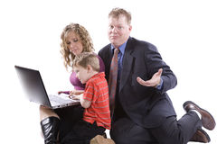 Kid showing how to run computer Royalty Free Stock Photography