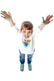 Kid showing painted hands to camera Stock Image