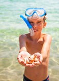 Kid Showing Shells Royalty Free Stock Photography