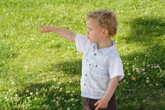 Kid  showing the way Stock Image
