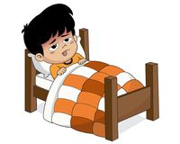 Kid sick with high fever Because the temperature of the climate. Change.Vector and illustration stock illustration