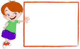 Kid with sign. Happy kid leaning on a blank sign Stock Photos