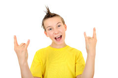 Kid with Sign of the Horns Royalty Free Stock Photography