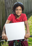 Kid and Sign stock images