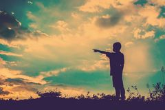 kid silhouette,Moments of the child's joy. looking for future, O Royalty Free Stock Photos
