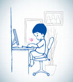 Kid sit in front of computer. Playing a game Stock Photo