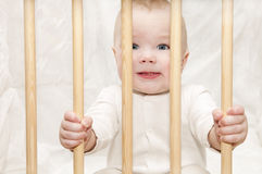 The kid sits in a baby cot Royalty Free Stock Photo