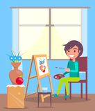 Kid Sits in Room and Paint Still Life Picture. Kid sits in room with large window and paints still life picture with flowers in clay vase on paper attached to Stock Photography