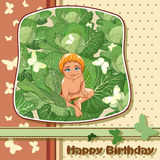 The kid sitting in cabbage. Stock Images