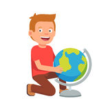 Kid sitting at terrestrial globe. Boy student learning earth geography. Flat style vector illustration  on white background Stock Photo