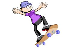 Kid on Skate isolated Stock Images
