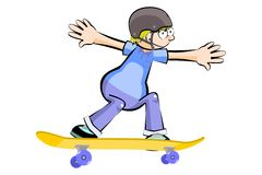 Kid on Skate isolated Royalty Free Stock Images