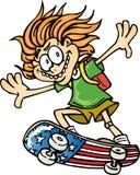 Kid on Skateboard. Kid riding an American flag skatboard Stock Illustration