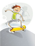 Kid with skateboard. Kid happy with his skateboard, cartoons vector illustration Royalty Free Stock Photo