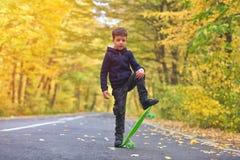 Kid skateboarder doing skateboard tricks in autumn environment.  stock photography