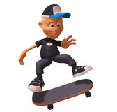 Kid skateboarding Stock Images