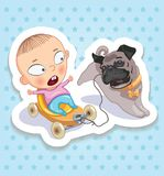 Baby ang pup. Happy childhood of kids. Funny stickers Royalty Free Stock Image