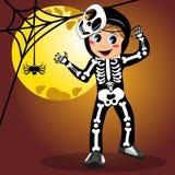 Kid skeleton halloween costume full moon Royalty Free Stock Photos