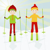 Kid skiers royalty free stock images