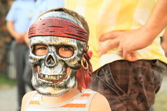 Kid in skull mask Royalty Free Stock Photography
