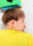 Kid sleep on the Books Royalty Free Stock Photography