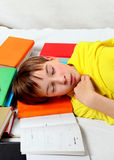 Kid sleep on the Books Royalty Free Stock Images