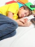Kid sleep with a Books Stock Photos