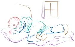 Kid sleep. Line art brush stroke kid sleep image vector illustration