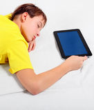 Kid sleep with Tablet Computer Stock Photos