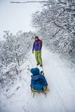 Kid on the sleigh. A women is carrying a child on a sled. Mom walks with her son over the snow-covered forest. Cheerful winter vacation. Winter fun. Baby on the Royalty Free Stock Images