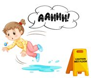 A Kid Slipping On Wet Floor. Illustration Royalty Free Stock Photos
