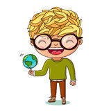Kid with a small globe. Earth Day Royalty Free Stock Photo