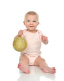 Kid with small rustic hand made disco ball decoration ornament Stock Photo